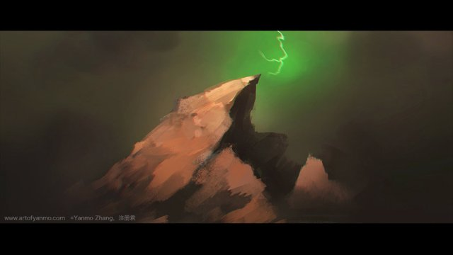 In Blasted Lands (or outland?), a green lightning pierces the sky